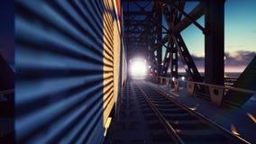 高速清扫在铁路桥过去的日落的火车,有发光的车灯的汽车 3d翻译 图库摄影