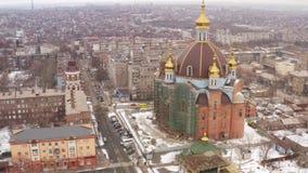 鸟瞰图 最大的寺庙在马里乌波尔乌克兰 影视素材