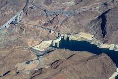 黑峡谷和胡佛水坝的鸟瞰图 图库摄影