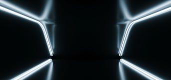 黑暗的演播室氖发光的白色蓝色反射性科学幻想小说未来派现代典雅的阶段指挥台展示室舞蹈空的空间3D 向量例证