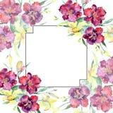 黄色和褐红的百合花束开花 水彩背景例证集合 框架边界装饰品正方形 库存例证