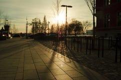 黄色日落光和阴影在地板上在一个室外公园 免版税图库摄影