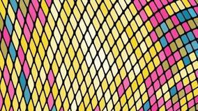 黄色,蓝色,桃红色正方形,菱形,长方形瓦片,与不可思议的缝的马赛克多彩多姿的抽象背景发光 库存例证