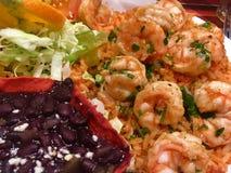 龙舌兰酒虾和红色米 免版税库存图片
