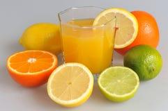Één of ander die soort citrusvrucht met het glas met citrusvruchtensap wordt gevuld op t Stock Afbeelding