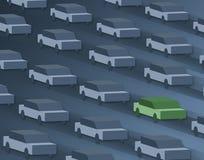Één auto, die groen gaat. Stock Illustratie