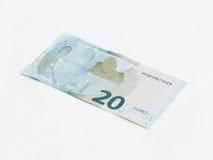 Één bankbiljet met een waarde van 20 die Euro op een witte achtergrond wordt geïsoleerd Royalty-vrije Stock Fotografie