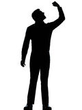 Één bedrijfs boze mens omhoog fisting silhouet Royalty-vrije Stock Afbeeldingen