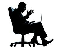 Één bedrijfs gegevensverwerkingszitting tussen mens en computer binnen Royalty-vrije Stock Foto's