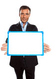 Één bedrijfsmensenholding die whiteboard toont Royalty-vrije Stock Fotografie