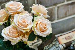 Één bij die nectar van lotusbloemstuifmeel verzamelen Royalty-vrije Stock Afbeelding