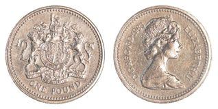 Één Brits pondmuntstuk Royalty-vrije Stock Foto's