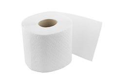Één broodje van toiletpapier dat op wit wordt geïsoleerd Royalty-vrije Stock Afbeeldingen