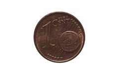 Één-cent euro muntstuk Stock Foto's