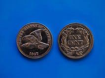 Één centjaar 1857 over blauw Royalty-vrije Stock Afbeelding