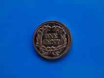 Één centjaar 1857 over blauw Stock Afbeelding