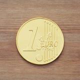 Één chocolade euro muntstuk Royalty-vrije Stock Foto