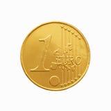 Één chocolade euro muntstuk in een gele omslag Stock Afbeelding