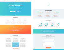 Één concept van het het ontwerpmalplaatje van de pagina vlak website Stock Foto