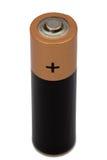 Één die aa-batterij op wit, met het knippen van weg wordt geïsoleerd royalty-vrije stock foto's