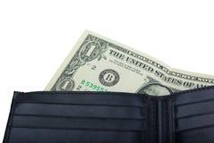 Één dollar in een portefeuille Stock Foto