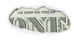 Één Dollar in God die wij hebben vertrouwd op Stock Fotografie