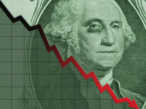 Één Dollar rekening-Washington op Helling Royalty-vrije Stock Foto's