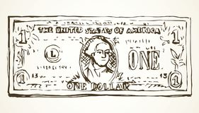 Één Dollar Vector tekening Stock Afbeelding