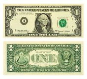 Één dollarbankbiljet Stock Afbeeldingen