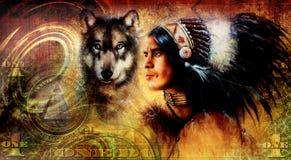 één dollarcollage met Indische mensenstrijder met wolf, ornamentachtergrond vector illustratie