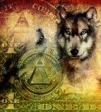 Één dollarcollage met wolfshoofd, die op canvas, kleuren siersepia en groene achtergrond, tatoegeringsontwerpen schilderen royalty-vrije illustratie