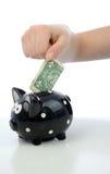 Één dollarinvestering voor piggybank Stock Afbeeldingen
