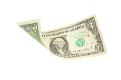 Één dollarrekening die op witte achtergrond vallen Stock Fotografie