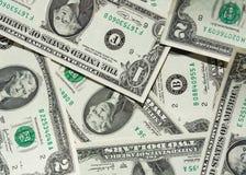 Één-dollars en twee-dollars rekening Stock Afbeeldingen