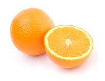 Één en halve sinaasappelen Royalty-vrije Stock Afbeeldingen
