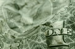 ÉÉN en 1 winkled Amerikaanse Dollarrekening royalty-vrije stock foto