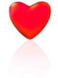 Één enkel rood hart met bezinning. Royalty-vrije Stock Afbeeldingen