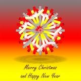 Één enkele grijze rode gele die Kerstmisster, op achtergrond met kleuren door de Duitse vlag, met groeten worden geïnspireerd royalty-vrije stock fotografie