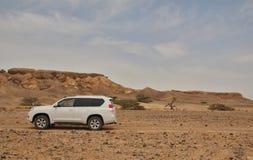 Één enkele jeep in de woestijn stock foto's