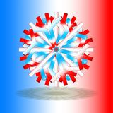 Één enkele rode witte blauwe die Kerstmisster met een schaduw op bodem, op achtergrond met kleuren door de Franse vlag worden geï stock afbeelding