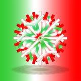 Één enkele rode witte groene die Kerstmisster met een schaduw op bodem, op achtergrond met kleuren door de Italiaanse vlag worden stock foto's