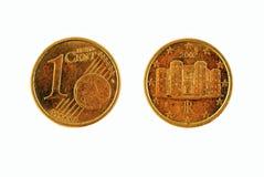 Één Euro cent - beide kanten Stock Foto's