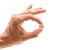 Één euro cent in een hand Royalty-vrije Stock Foto