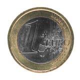 Één Euro EUR-muntstuk, Europese die Unie de EU over wit wordt geïsoleerd Royalty-vrije Stock Afbeelding