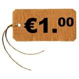 Één euro markeringsetiket royalty-vrije stock afbeelding