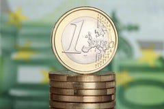 Één Euro muntstuk Stock Afbeeldingen