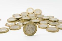 Één Euro muntstuk Royalty-vrije Stock Foto's
