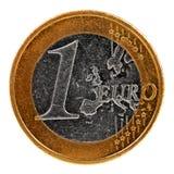 Één Euro muntstuk dat op wit wordt geïsoleerdm Royalty-vrije Stock Foto