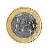 Één euro muntstuk dat op witte achtergrond wordt geïsoleerd Royalty-vrije Stock Afbeeldingen