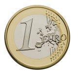 Één Euro Muntstuk - de Munt van de Europese Unie Stock Afbeeldingen